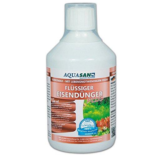 AQUASAN Aquarium FerroMax Flüssiger Eisendünger Plus (GRATIS Lieferung in DE - Versorgt Aquarium Pflanzen mit dem Nährstoff Eisen für sattgrüne, leuchtendrote Farben), Inhalt:0.5 Liter