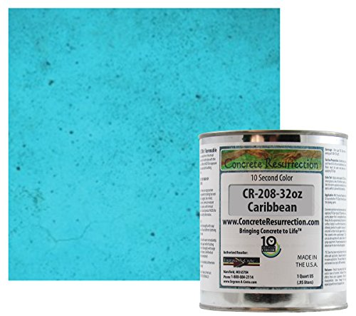 Ten Second Color (TSC) Concrete Dye Concentrate Makes 32oz. (Caribbean Blue) Professional Grade and Easy to use. Brilliant Bold Colors. Semi-Transparent Cement Dye. Dries in Seconds
