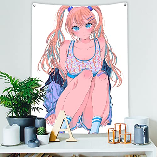 HREGFLT tapizAnime Kawaii Tapiz de decoración del hogar japonés Sexy Linda Chica Bonita Dormitorio Manga Fondo Mujer Colgante de Pared