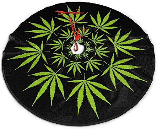 nuoyan Green Weed Christmas Tree Skirt Snowflakes Tree Skirt Circle Gorgeous Xmas Tree Mat Holiday Party Decorations 36'