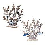 YiShuHua Decoración de Madera, decoración Estilo, Madera Coral Retro, la Nueva casa, Playa, náutica 2 Piezas (Color : A)