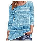 Mode Frauen Rainbow Stripe Printed Top Casual Pullover Langarm T-Shirt