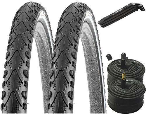 KENDA 2 x Fahrradreifen Pannensicher 28 Zoll 28x1.75 47-622 700x45C K-Shield inklusive 2 x Schlauch mit Autoventil inkl. BDCP Reifenheber 3er Set schwarz
