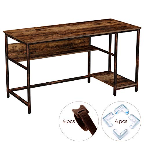 """Rolanstar Rustic Style Computer Desk, 55"""" Home Office Desk with 2 Storage Shelves, Study Table with Corner Protectors, Workstation,Stable Metal Frame, CP001-E"""