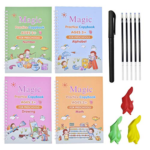 4 Pack Magic Practice Copybook Set, Handwriting Workbook for Math, Alphabet, Numbers and Drawing, Lifepigment Copybook, Reusable Calligraphy Tracing Copybook with Pen & Aid Pen Grip (Style A)