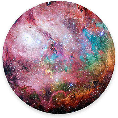 Red and Green Galaxy Mouse Pad, Modern Nebulae Gaming Mouse Mat Waterproof Circular Small Mouse Pad Non-Slip Rubber Base MousePads for Office Home Laptop Travel, 7.9'x0.12' Inch
