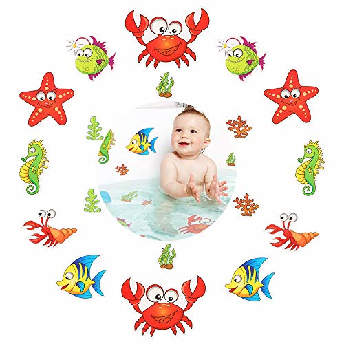 Pack of 18,Non Slip Bathtub Stickers,Adhesive Decals with Bright Colors,Ideal Large Appliques for Your Family's Safety,Suit for Bath Tub,Stairs,Shower Room & Other Slippery Surfaces.(Shrimp and Crab)