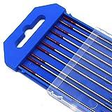 Electrodos de soldadura TIG 10X de WT20 Ø1,6mm * 175mm Electrodos de tungsteno Tungstenos Soldadura TIG Adecuado para aleación de níquel, titanio, cobre, acero inoxidable, etc.