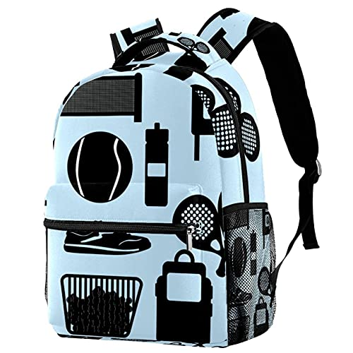 Mochila sencilla para raqueta de tenis, color negro, mochila de viaje, casual, para mujeres, adolescentes, niñas y niños
