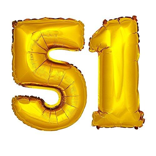DekoRex® Folienballon Zahlenballon Luftballon Geburtstag Deko 80cm Zahl Gold 51