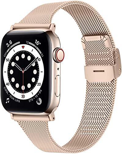 Mugust Metallo Cinturino Compatibile con Apple Watch Cinturino 38mm 40mm 42mm 44mm, Magnetico Cinturini di Ricambio Traspirante in Acciaio Inossidabile per iWatch Series 6 5 4 3 2 1 SE(38MM/40MM)