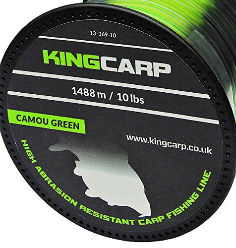 KINGCARP - 1/4 lb Spools of CAMOU GREEN Bulk Extra Strong Monofilament Carp & Specimen Coarse Fishing Line - comes in 10, 12, 15 & 20lbs breaking strains (1296m of 12lbs to 0.30mm) [13-369-12]