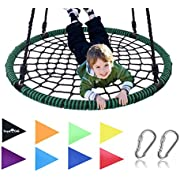 "Royal Oak Giant 40"" Spider Web Tree Swing, 600 lb Weight Capacity, Durable Steel Frame, Waterproof, Adjustable Ropes, Bonus Flag Set and 2 Carabiners, Non-Stop Fun for Kids!"