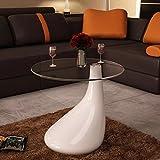 vidaXL Table Basse de Salon Dessus Verre Trempé Blanc Brillant Table de Séjour