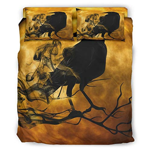 Four-piece Bed Set Printed Black Raven Moon Crow Complete Duvet Cover Set Super Soft Multi Colour Christmas Duvet Cover white 203x230cm