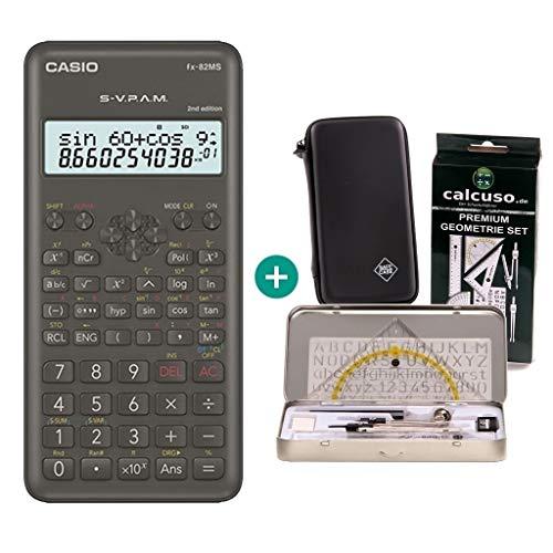 Casio FX-82MS 2 + SafeCase Funda protectora SafeCase + Kit de geometría de Calcuso