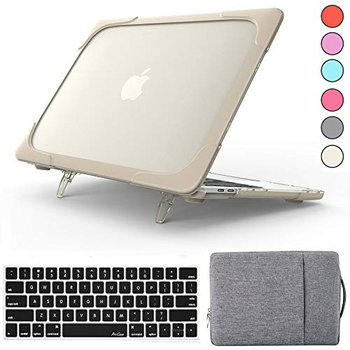 QYiD MacBook Air 13 Inch Case A1369 & A1466, 2 in 1 Heavy Duty ShockProof Matt Protective with Keyboard Cover & Sleeve for MacBook Air 13.3 Inch, Older Version 2010-2017 (No Touch ID), Kaki