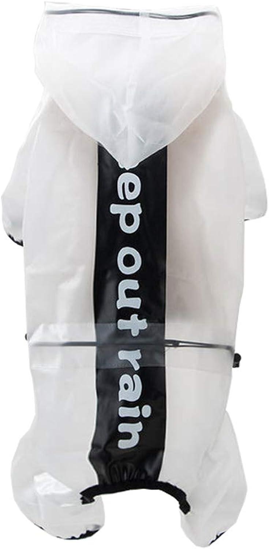 Dog Raincoat Four Feet Waterproof Small and Medium Pet AllInclusive Transparent Thin Section Rainwear,White,L