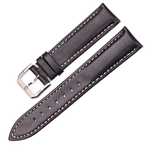 ZHHOOHAG Correas para Relojes Vintage Watch Band Correa Negro Dakr Marrón Mano Hecho A Mano Liso Cuero Genuino Reloj Reloj Accesorios Accesorios Metal Hebilla Correas De Reloj