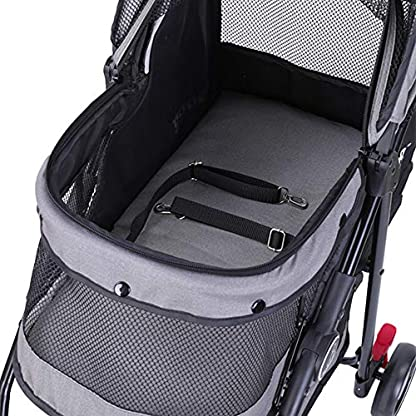 ROODO Escort Pet Stroller Dog and cat pet Three-Wheeled cart - Lightweight, Compact, Portable, Practical, Removable, Change Color (Black special edition) 3