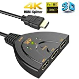 HDMI Switch 4K, 3-Port HDMI Splitter | HDMI Switcher 3 in 1 Out with High Speed Pigtail Cable Supports Full HD 4K 1080P 3D Player [WOLLGORD]