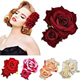 Ladies Handmade Flannel Elegant Pink Red Rose Hairpin Hair Clips Bridesmaid Head Piece Bridal Flower Hiar Clip Valentine's Day (red)