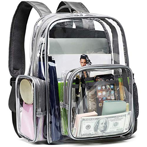 Clear Backpack, F-color Heavy Duty Large Clear Bag Reinforced Straps, With Waterproof Oxford Fabric...