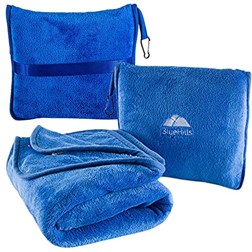 BlueHills Premium Soft Travel Blanket Pillow Airplane Blanket Packed in Soft Bag Pillowcase with Hand Luggage Belt and Backpack Clip, Compact Pack Large Blanket for Any Travel (Royal Blue T003)