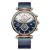 JISHIYU Relojes deportivos redondos para hombres de la marca superior azul de lujo militar de acero inoxidable reloj de hombre reloj de pulsera de moda cronógrafo (color: azul)