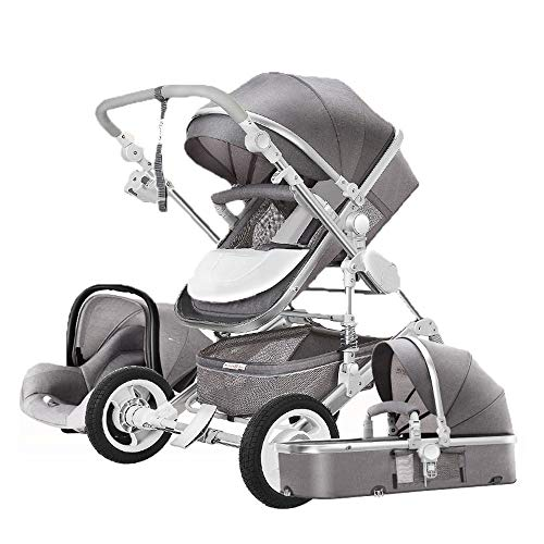 3 in 1 Baby Stroller for Newborns high Landscape Travel System Baby Stroller with Folding car seat Strollers for Children ({Type=String, Value=Gray})