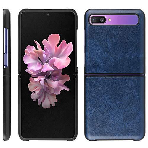 HualuBro Handyhülle für Samsung Galaxy Z Flip Hülle, Retro PU Leder Ultra Slim Stoßfest Schutzhülle Lederhülle Back Bumper Hülle Cover für Samsung Galaxy Z Flip Tasche (Blau)