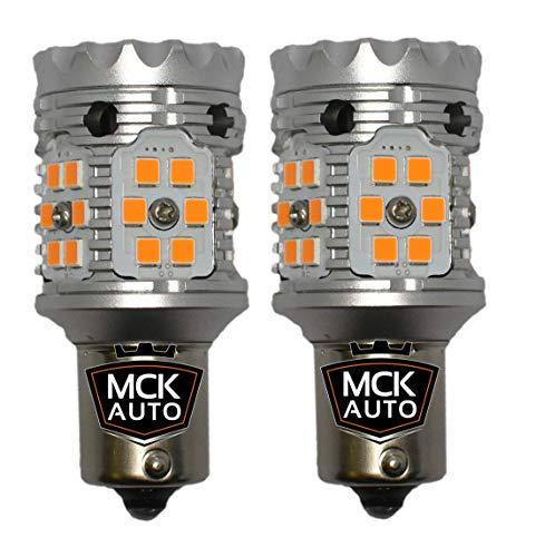 MCK Auto - Remplacement pour P21W BA15s 1156 LED CanBus Ensemble d'ampoules orange très clair et sans erreur compatible avec A3 A4 F30