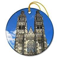 フランス聖ガティエン大聖堂ツアークリスマスオーナメントセラミックシート旅行お土産ギフト