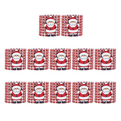 SUPVOX 12pcs Weihnachtsserviettenringe mit Weihnachtsmann Ornamnets (rot)