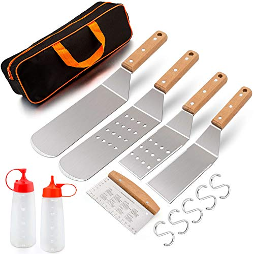 Leonyo Griddle Accessories Set of 8, Stainless Steel Metal Spatula - Grill Spatula Scraper for Flat Top Teppanyaki BBQ Cooking, Carry Case & Gift Box, S Hooks & Rivets Wooden Handle, Man Gift
