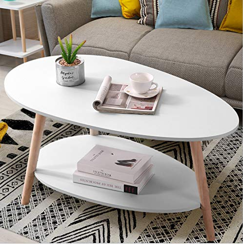 Maupvit Coffee Table-Oval Wood Coffee Table with Open Shelving for Storage and Display 2 Tier Sofa Table, Small Modern Furniture for Living Room&Home Office-White