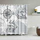 Kompass Segelboot Duschvorhang Weltkarte Badvorhang Großer Badvorhang Badvorhang Badezimmer Duschvorhänge Duschvorhang