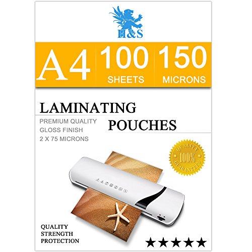 H & S 100x A4Laminiertaschen 150Mikron (2x 75Mikron) glänzend Laminiergerät Beutel Blatt Glossy Laminat Beutel