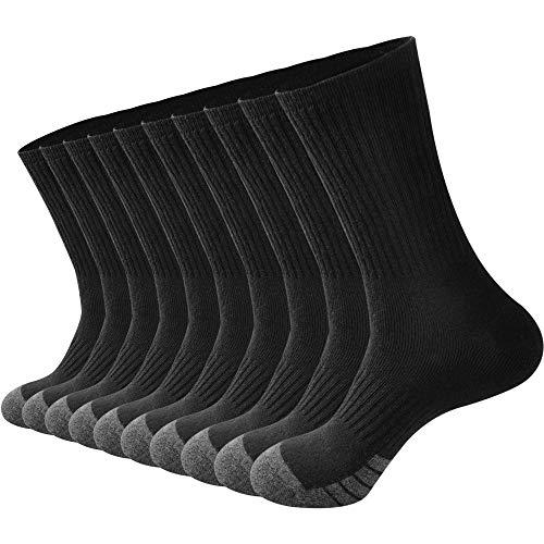 GKX Men's 10 Pairs Cotton Moisture Control Heavy Duty Work Boot Cushion Crew Socks(Black 10P)