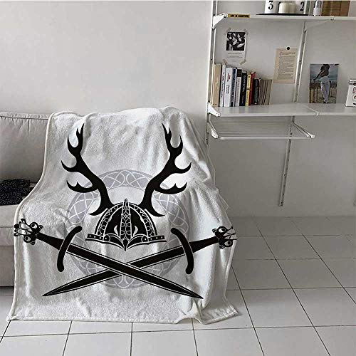 Printed Throw Blanket Hat with Deer Antlers Viking Culture Celtic Circle Medieval Barbarian Theme Ultra Cooling Throw Blanket Best Gifts for Family Friend Birthday Black White Silver (60 x 90 Inches)
