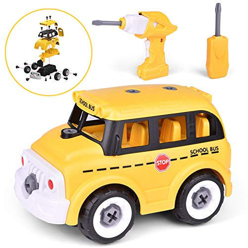 FunLittleToy Take Apart Toy with Drill Tool, DIY School Bus, Stem Learning Toys for Kids, Construction Toy for Boys and Girls