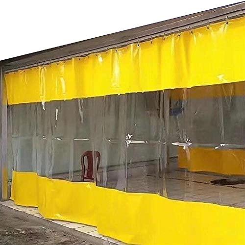 YJSMB Impermeable Lona Alquitranada con Ojales, Exterior Cortinas Transparente Kiosko Pared Lateral Paneles, Ventana Pantalla Protección Aislada 0,6 Mm Tarea Pesada PVC Lona