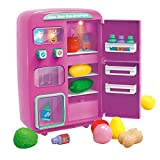Ggoddess 32Pcs Vorgeben, Kühlschrank Spielzeug-Set, elektrische Simulation Mini-Spielzeug, Kühlschrank mit Play Food Set, Automaten Spielhaus Spielzeug mit Beleuchtung Klingelfunktion - Weinrot