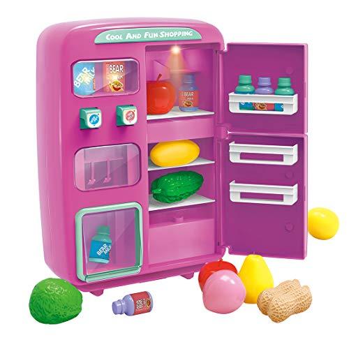 BOROK Nevera de Juguete para Niños, 32Pcs Simulación Mini Toy Refrigerator con Play Food Set Máquina Expendedora Play House Toy con Función de Sonido de Iluminación