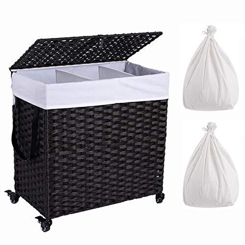Crehomfy Cesto de lavandería con rueda y 2 bolsas de forro, mimbre sintético tejido a mano, cesta para la colada con tapa y asa, cesta plegable para la ropa, clasificador de ropa para lavandería, dormitorio negro 3 secciones