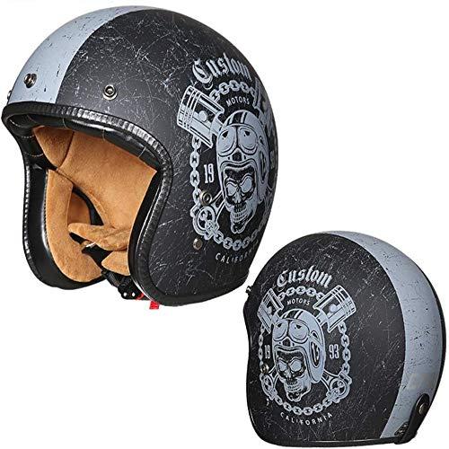 ZHXH Harley Casco de motocicleta Adulto Retro Hombres y mujeres Power Car Helmet Evergreen 3/4 Open Face Casco de motocicleta con parasol/punto aprobado,