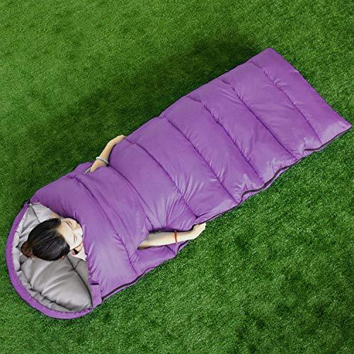 DLSM Sac de couchage de style pour adulte en plein air à l'intérieur du bureau chaud Sac de couchage à main pour camping Voyage Double sac de couchage en coton-violet
