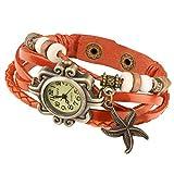Taffstyle Damen-Armbanduhr Analog Quarz mit Leder-Armband Uhr Vintage Retro Seestern Orange
