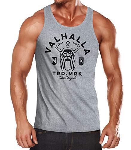 Neverless® Herren Tank-Top Valhalla Odin Runen Wikinger Muskelshirt Muscle Shirt grau XXL