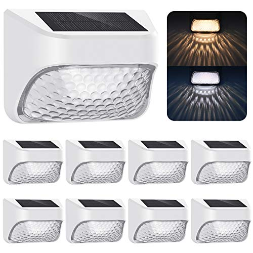 (8 Pack, 20LM) Stay on Solar Outdoor Lights from Dusk to Dawn, 2 Modes: Warm White/Cool White, IP65 Waterproof Solar Powered LED Light for Fence Deck Step Yard Stair Garden Decorative, Wall Mount